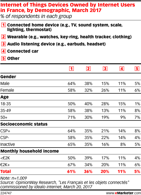 Internet of Things Devices Owned by Internet Users in France